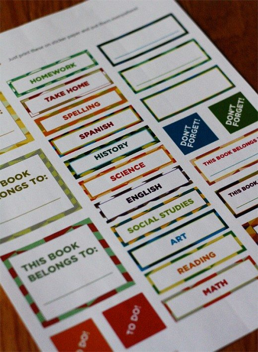 School Papers Organization Labels and Stickers by SkiptomyLou for Alphamom.com