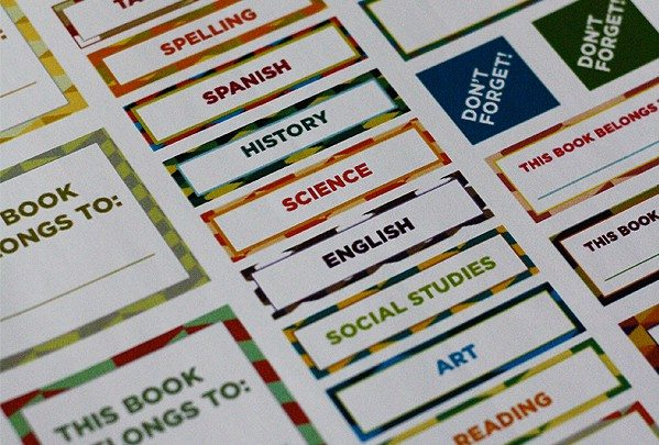 Back-to-School Labels and Stickers for Organization