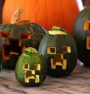 Minecraft Creeper Green Jack O' Lanterns!