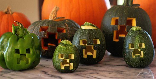 Minecraft Creeper Jack O' Lanterns by Alphamom.com