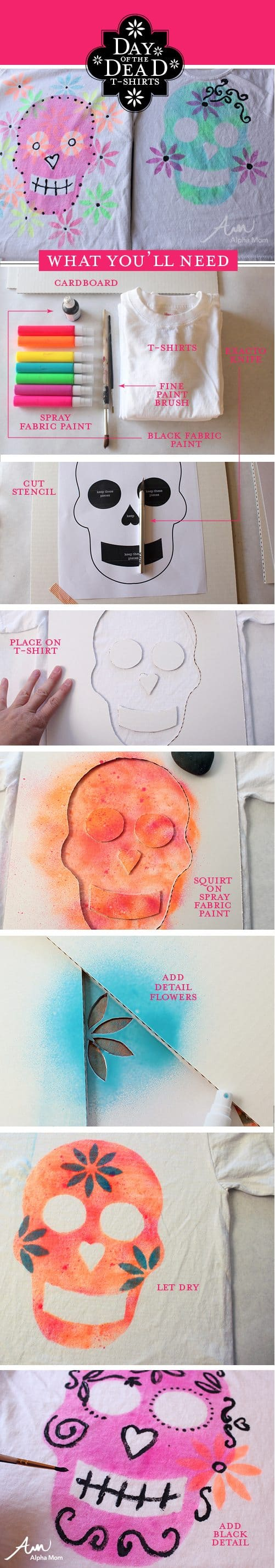 Day of the Dead DIY T-Shirt Tutorial by Brenda Ponnay for Alphamom.com