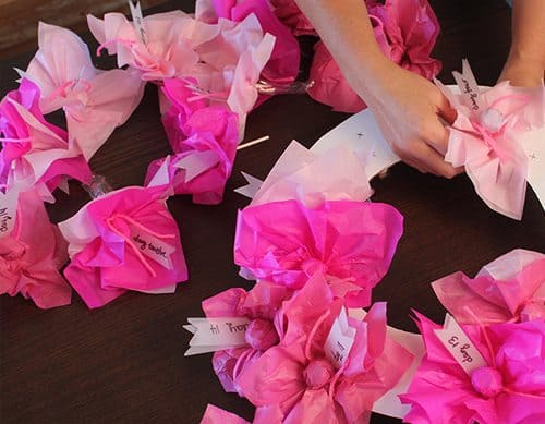 attaching tissue paper to wreath