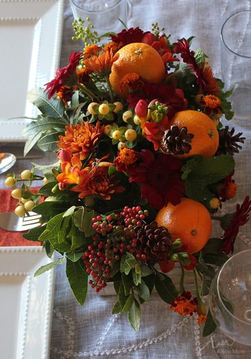 Thanksgiving autumnal flower arrangements with kids