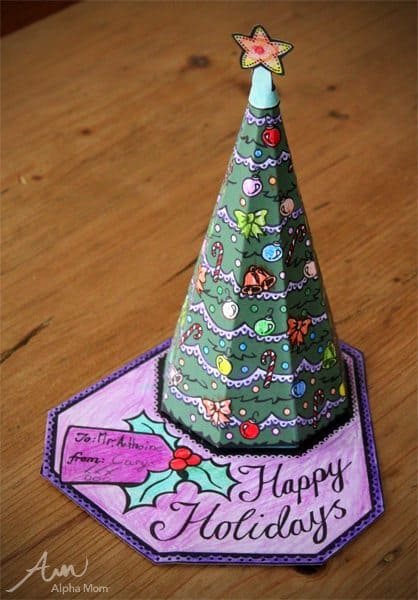 3D Christmas Tree Card Printable displayed on table