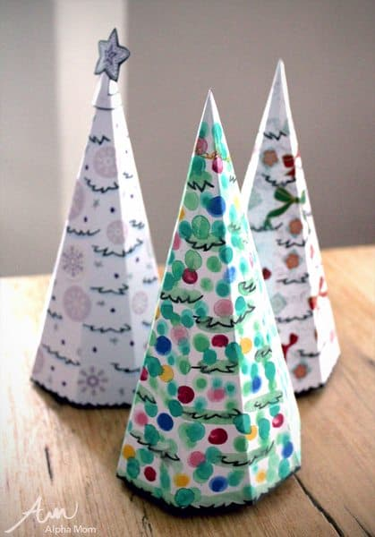 3D Christmas Tree Card Printables on top of table