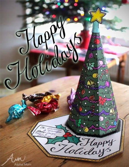 3D Christmas Tree Card Printable and candy pieces displayed on table