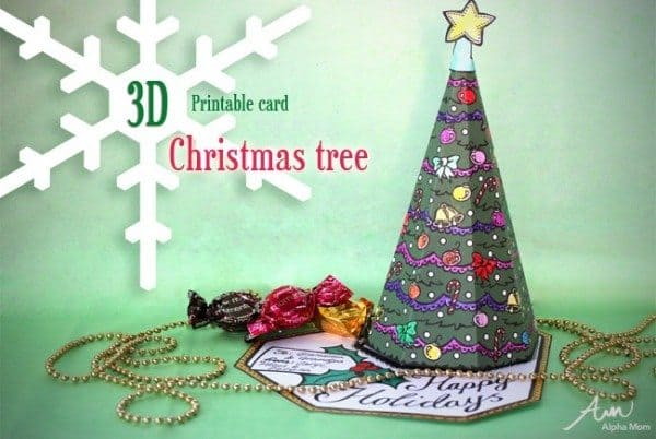 3d christmas tree card printable - Christmas Tree Card