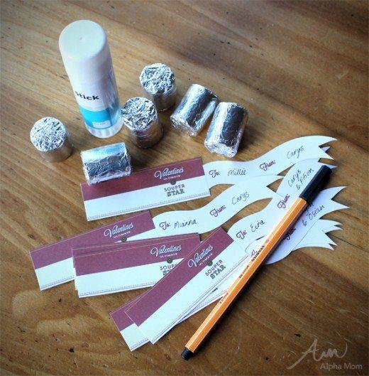 """Souper Star"" Valentine Printable supplies (necco wafers, printables, glue, pencil)"