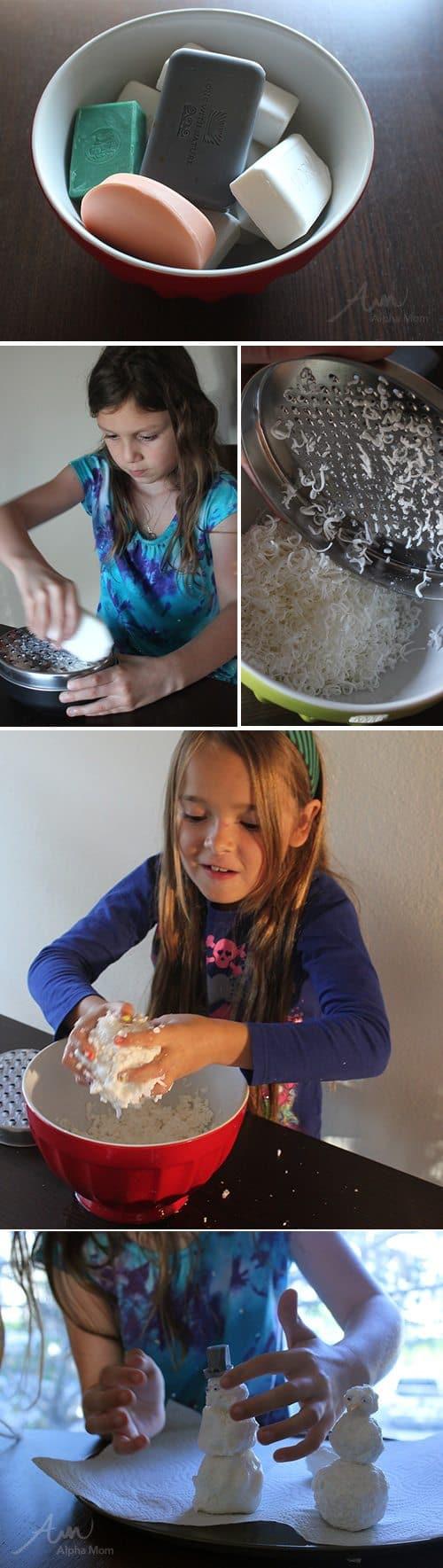 Snowman Soap DIY by Brenda Ponnay for @Alphamom