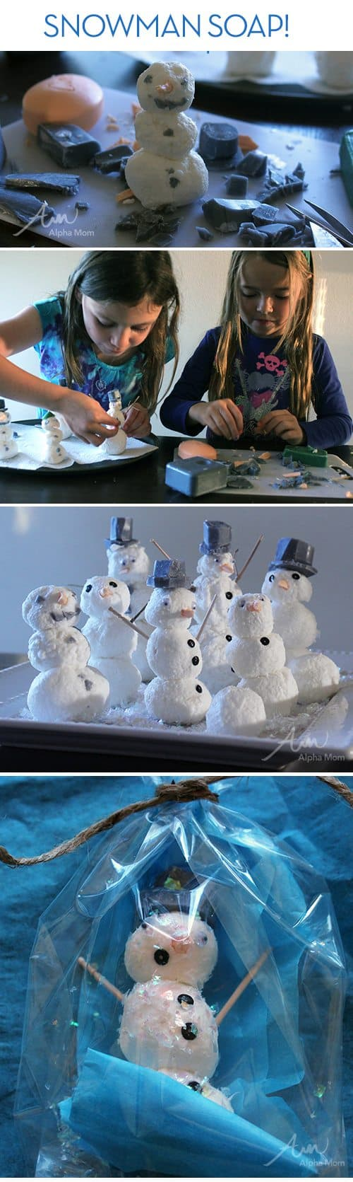 Snowman Soap DIY by Brenda Ponnay for @Alphamom