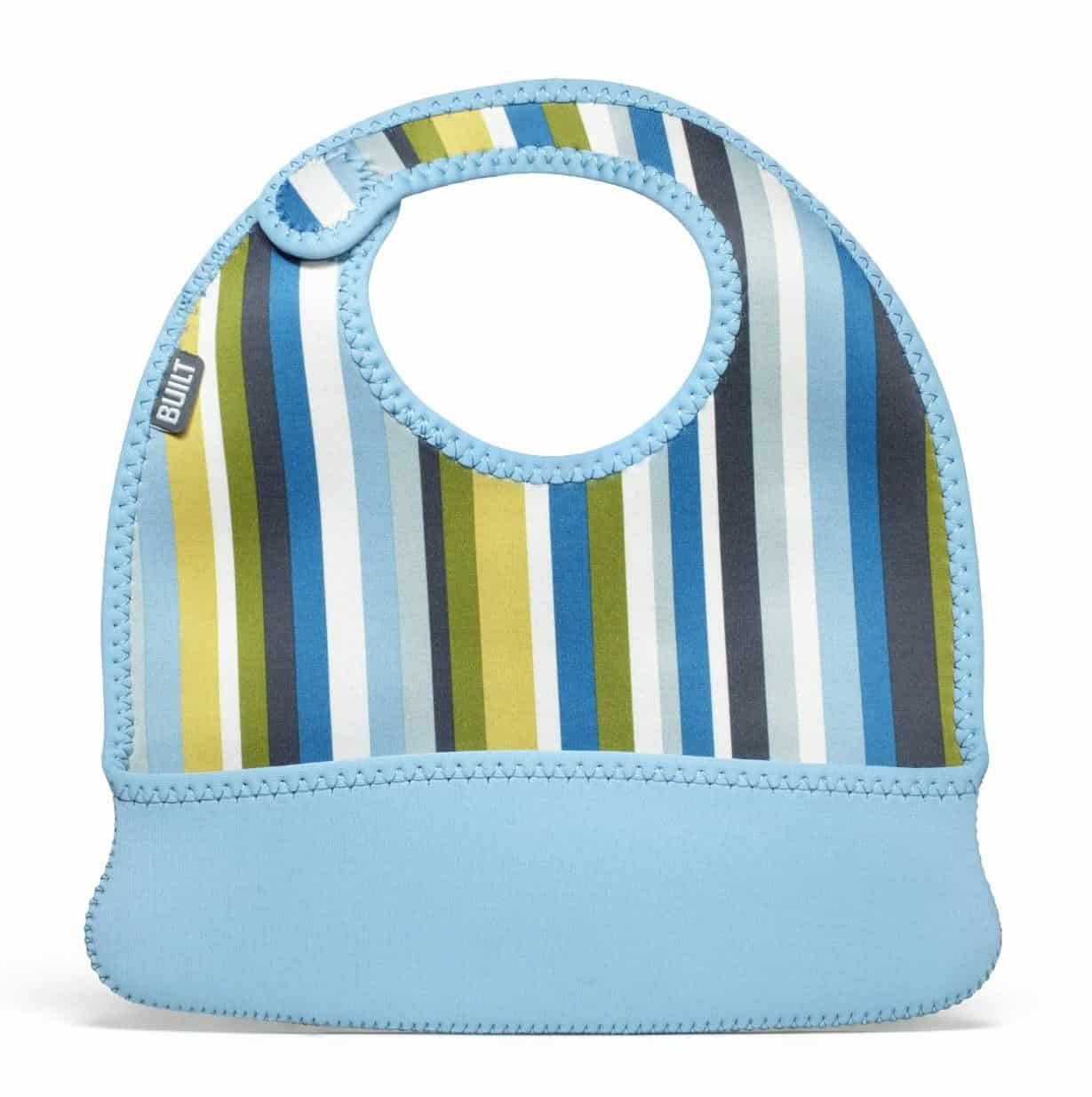 1 x Long Fabric Bib with adjustable body strap in baby pink//blue//yellow