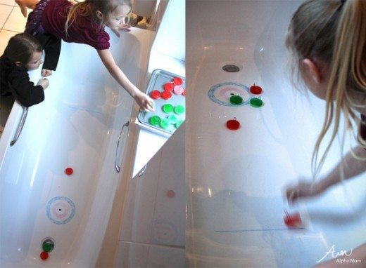 Winter Olympics Craft: Ice Cube Curling in the Bath by Lindsey Boardman for Alphamom.com