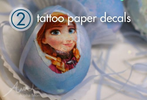 Frozen movie Easter Egg Decorating Ideas: tattoo paper decals