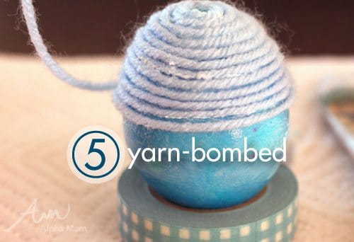 Frozen movie Easter Egg Decorating Ideas: yarn-bomb
