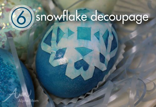 Frozen movie Easter Egg Decorating Ideas: snowflake decoupage