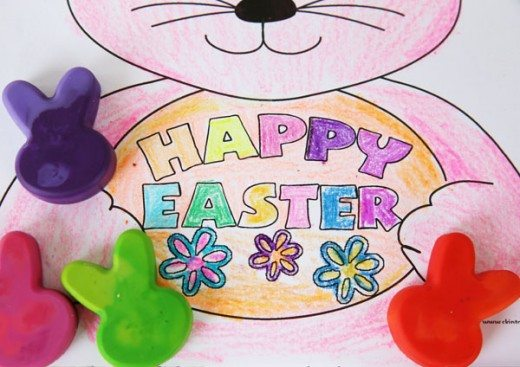 Easter Coloring Page by with bunny shaped crayons