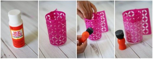 Stencil Glitter Votive Tutorial