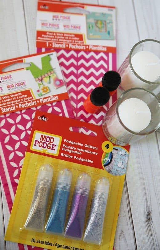 Supplies for making glitter votive craft