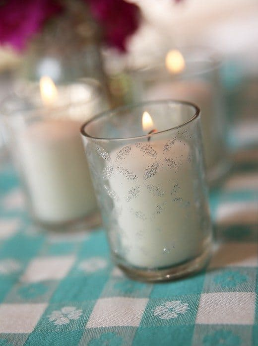 Stencil Glitter Votive Tutorial by Skip To My Lou for Alphamom.com