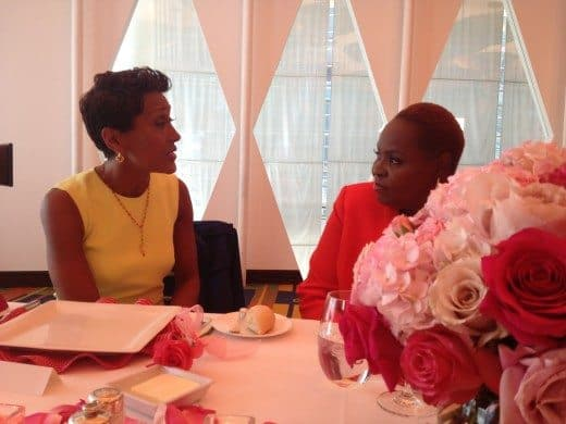Rose Murphy having a conversation with Robin Roberts