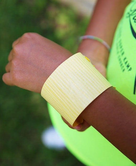Duct tape around wrist for nature walk bracelet