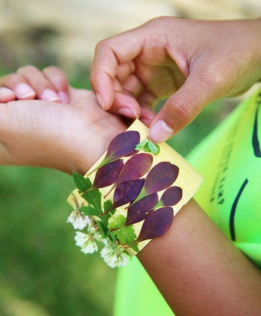 Adding leaves and flowers to nature bracelet