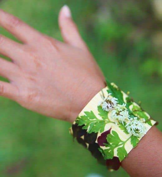 Beautiful nature bracelet made from tape, leaves and flowers