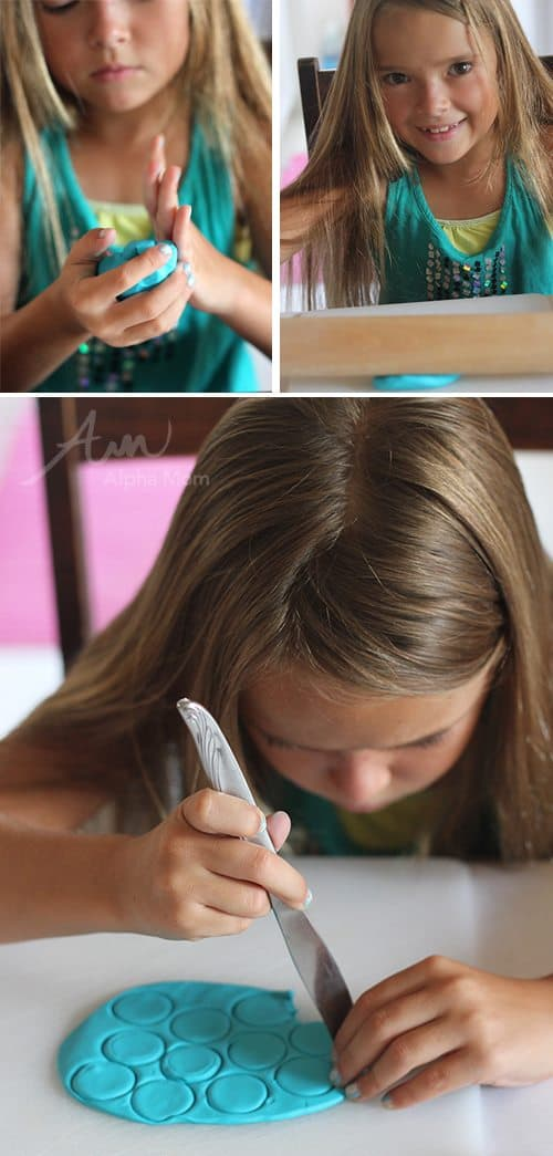 Child molding and working with clay