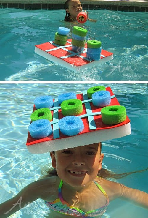 Pool noodle tic-tac-toe water game