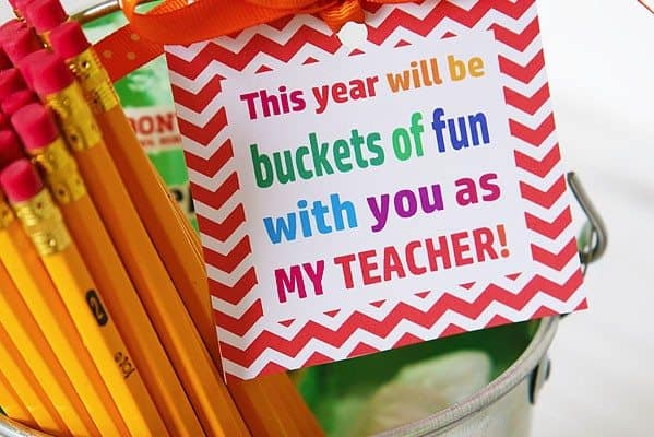 Back-to-School Bucket of Supplies Teacher's Gift Idea