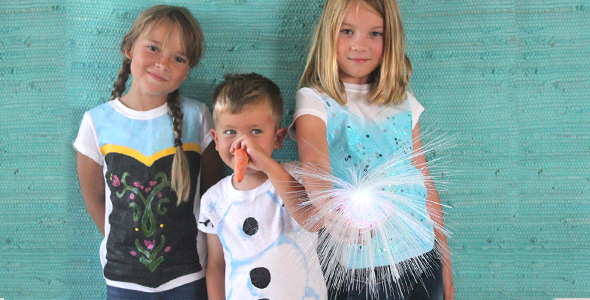 "DIY ""Frozen"" Movie-Inspired Costumes (Anna, Elsa and Olaf) for Halloween"