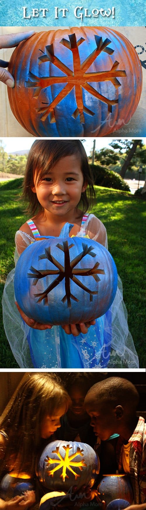 Let It Glow! Frozen-themed Jack o'Lanterns by Brenda Ponnay for Alphamom.com #pumpkins #Frozen