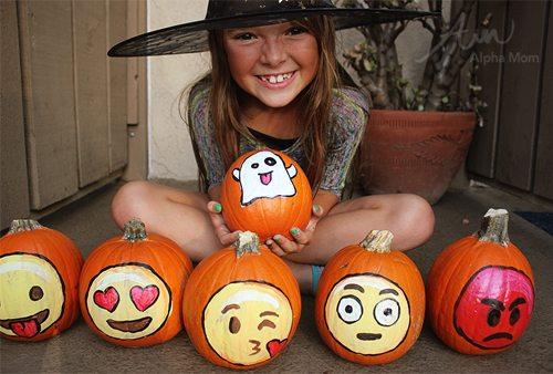 Emoji Pumpkins for Halloween Decorations by Brenda Ponnay for Alphamom.com