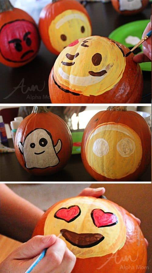 Emoji Pumpkins for Halloween (how-to) by Brenda Ponnay for Alphamom.com