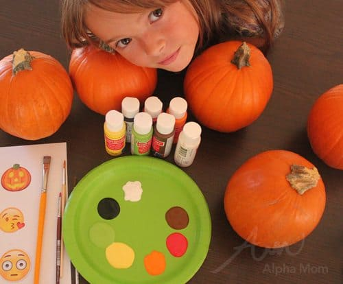 Emoji Pumpkins for Halloween by Brenda Ponnay for Alphamom.com