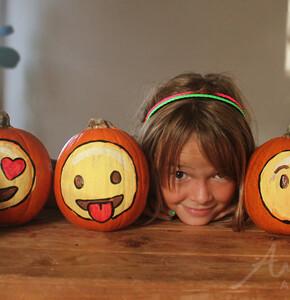 Painted Emoji Pumpkins for Halloween