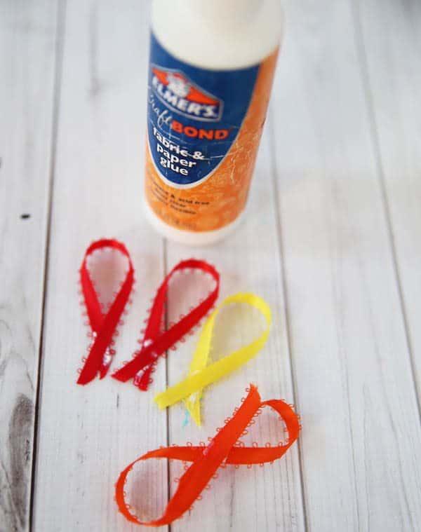 gluing ribbon for making turkey hairclips