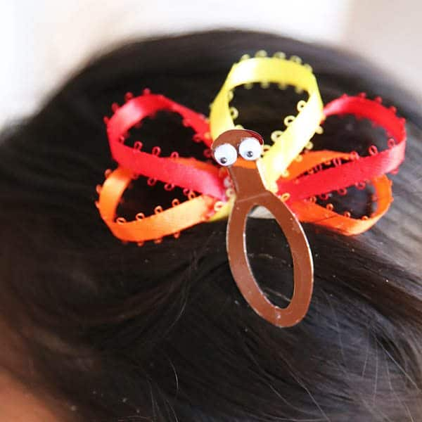 Turkey hairclip for Thanksgiving in child's hair