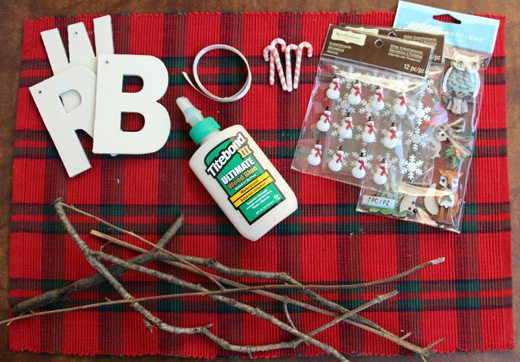 Supplies for Woodland Monogram Ornaments