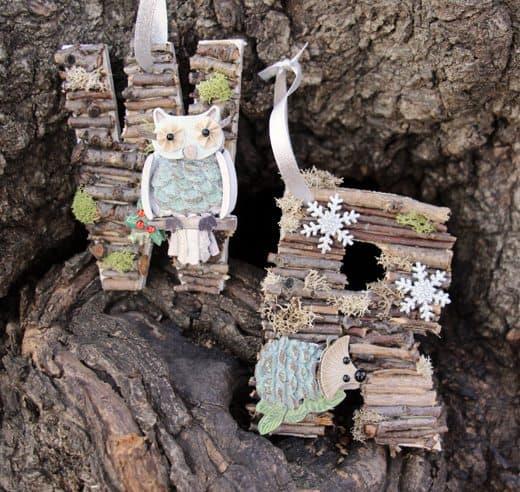 Woodland Monogram Ornaments by Wendy Copley for Alphamom.com