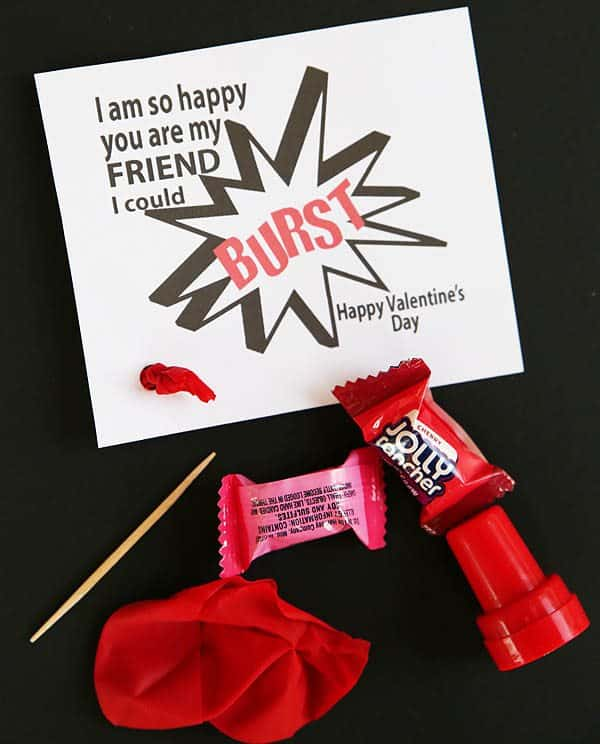 """I Am So Happy You Are My Friend I Could Burst"" Valentine Printable by Cindy Hopper for Alphamom.com"