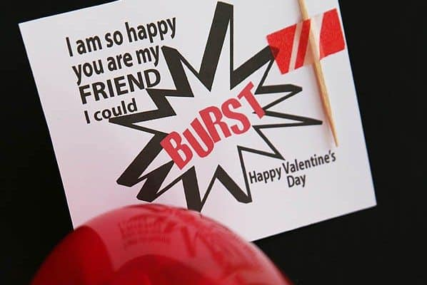 "Printable Kids' Valentine: ""So Happy You Are My Friend, I Could Burst"""
