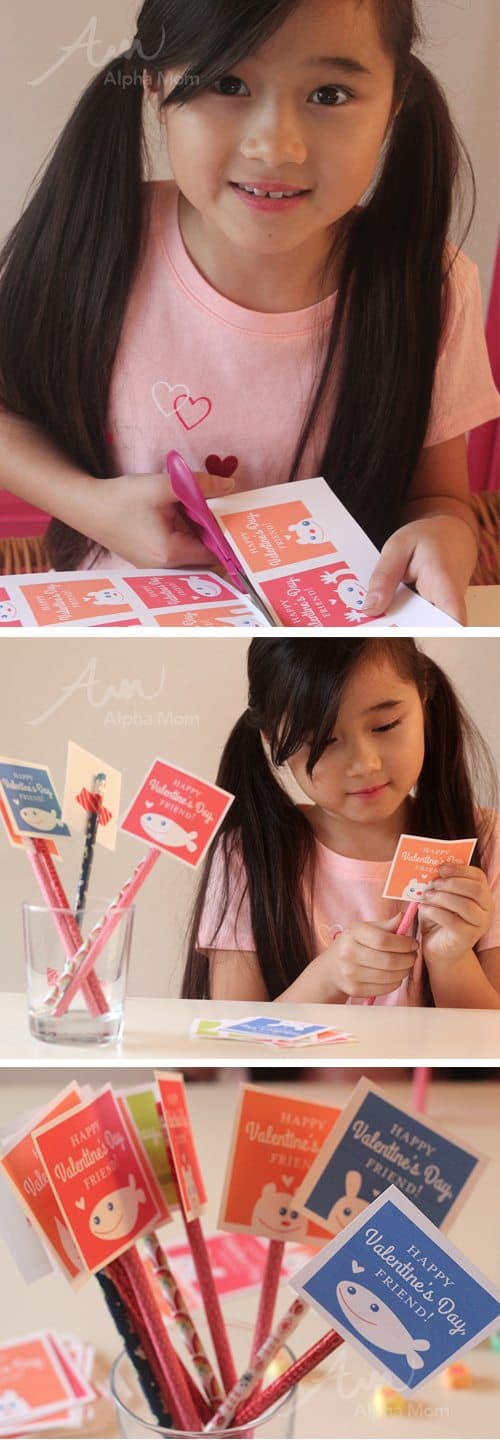 Friendly Valentine Card Printables for Kids in different colors