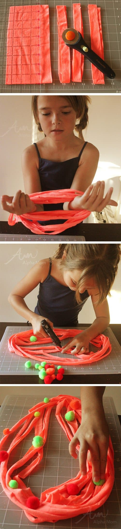 Cutting t-shirt and adding pom poms for decoration