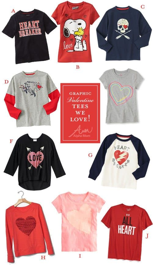 Valentine's Day graphic tees for kids