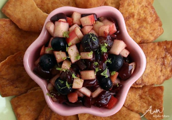 Healthy Snack: Fruit Salsa with Cinnamon Pita Chips