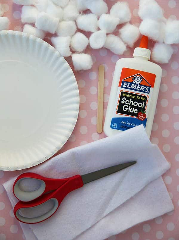 Supplies for Sheep Mask Craft (cotton balls, paper plate, scissors and glue)