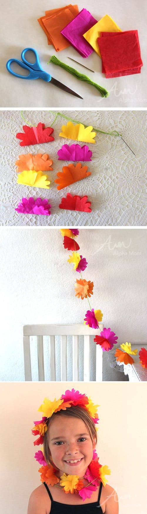 Flower garland made with tissue paper