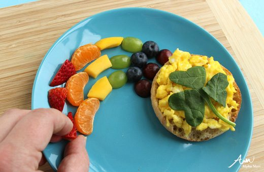 St. Patrick's Day Breakfast: Shamrock Eggs with Rainbow Fruit by Wendy Copley for Alphamom.com