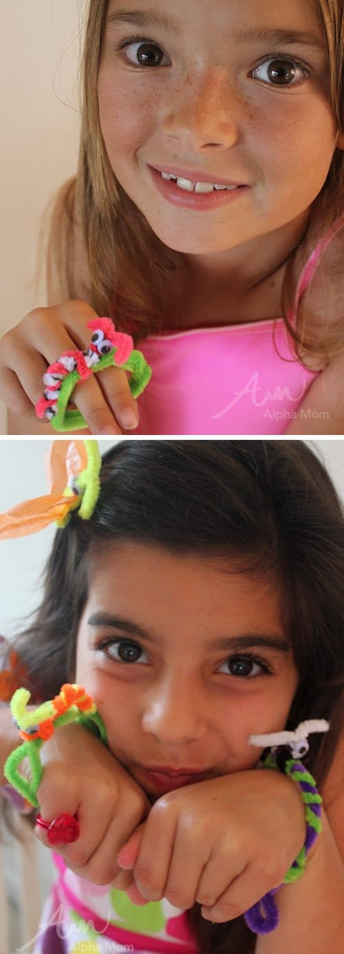 Bug Crafts (Butterfly Clip + Caterpillar Bracelet) by Brenda Ponnay for Alphamom.com